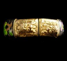 ANTIQUE dragon Bracelet - Enamel Foo dog bangle - chinese export - figur... - $285.00
