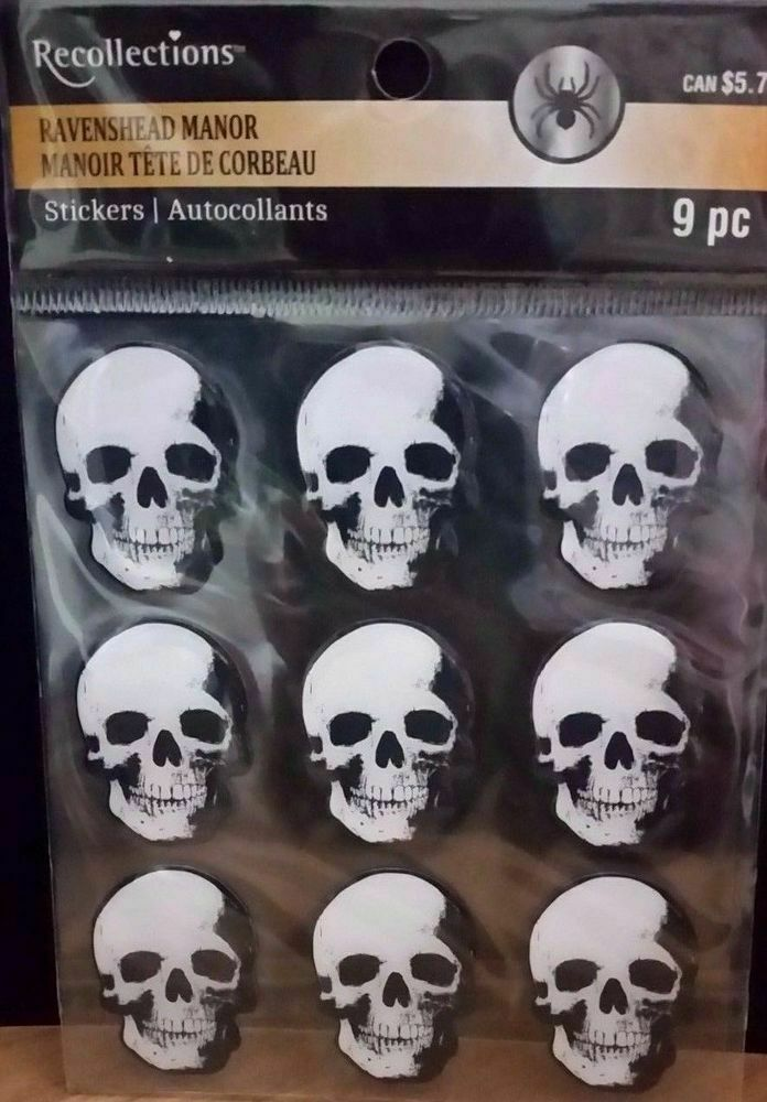 Recollections Ravenshead Manor Skull Stickers, 9 Count