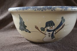 "Christmas serving bowl hand painted snowman 11"" Marshall East Texas Pott... - $19.99"