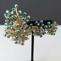 Cathe AB Blue Green Brooch Pin Clip On Earrings Set Prong Set Rhinestones - $59.39