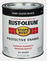 Rust-Oleum SEMI-GLOSS BLACK 1 qt Stops Rust PROTECTIVE ENAMEL Oil-Based ... - $19.99