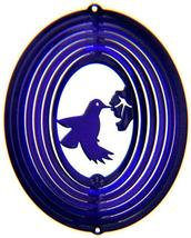 8in stainless steel purple hummingbird USA 3D hanging yard wind spinner spinners - $18.00