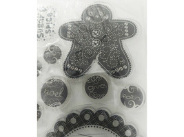 Stylized Gingerbread Man and Icons Clear Stamp Set image 2