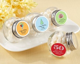 Mini Glass Favor Jar - Birthday (2 Sets of 12) (Available Personalized)  - $41.99