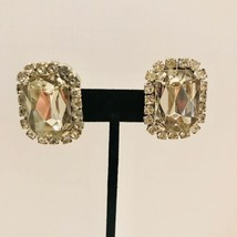 Vintage Chunky   Earrings Clear Faceted Glass Rhinestone Square Clip On ... - $14.24