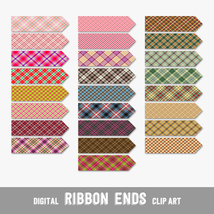 Darker Tartan Design Ribbon Ends, Arrows and Flags - Digital Clip Arts, ... - $4.50