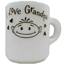 "Vintage Milk Glass Mug ""I Love Grandpa"" Coffee Cup White With Brown Grap... - $14.03"