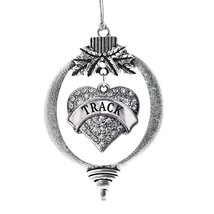 Inspired Silver Track Pave Heart Holiday Christmas Tree Ornament With Crystal Rh - $14.69