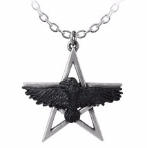 "Ghost-seer Black Raven Pentagram 1.5"" Pendant Sage Oracle P760 Alchemy Gothic - $24.95"