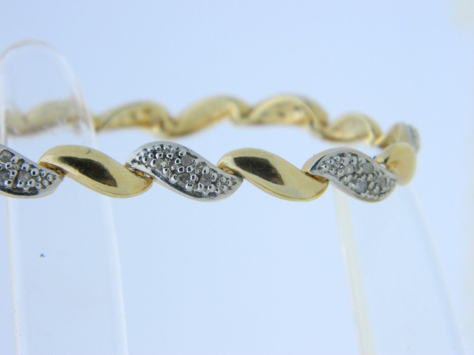 "VTG DBJ .925 Gold Vermeil Dual Tone Diamond Tennis Bracelet 7"""