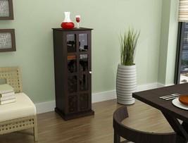 Espresso Finish Wine Rack Storage Cabinet Holds 24 Bottles Glass Door Vi... - $192.95