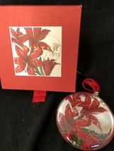 "FRINGE 3 1/2"" DISC GLASS ORNAMENT Winter Flora CHRISTMAS HOLIDAY DECORATION - $8.42"