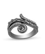 Enchanted Disney 1/5 CT CZ Diamond Curled Tentacle Silver Black Rhodium Ring - $105.00