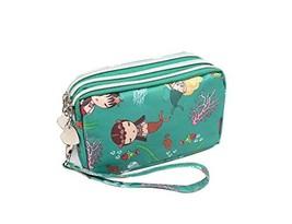Cute Three Zipper Clutch Bags Nylon Wrist Bag Coin Purse Cellphone Pouch GREEN image 2