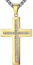 Men's Stainless Steel Large Cross Religious Pendant Necklace, 24'' Link ... - £40.90 GBP