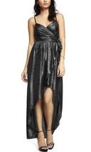 Express Women's Metallic Surplice Wrap Hi-lo Cocktail Long Dress X-Small... - $37.25