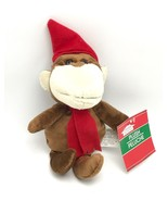 Monkey In Red Hat Scarf Stuffed Animal Toy Christmas House New - $8.99
