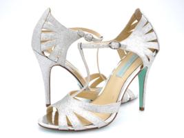 Betsey Johnson Womens 7.5 Tee Silver Open Toe Ultra High Pump Heels - $24.99