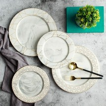Dish Sets  1pc Glod Geometry Diamond Marble Ceramic Dinner Flat Plate Salad - $40.30+