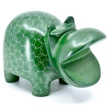 Vaneal Group Hand Carved Soapstone Large Heavy Green Hippopotamus Hippo Bookend image 1