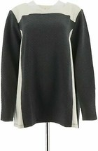 Denim & Co Active Quilted Knit Sweatshirt Panels Natural XS NEW A271296 - $12.84