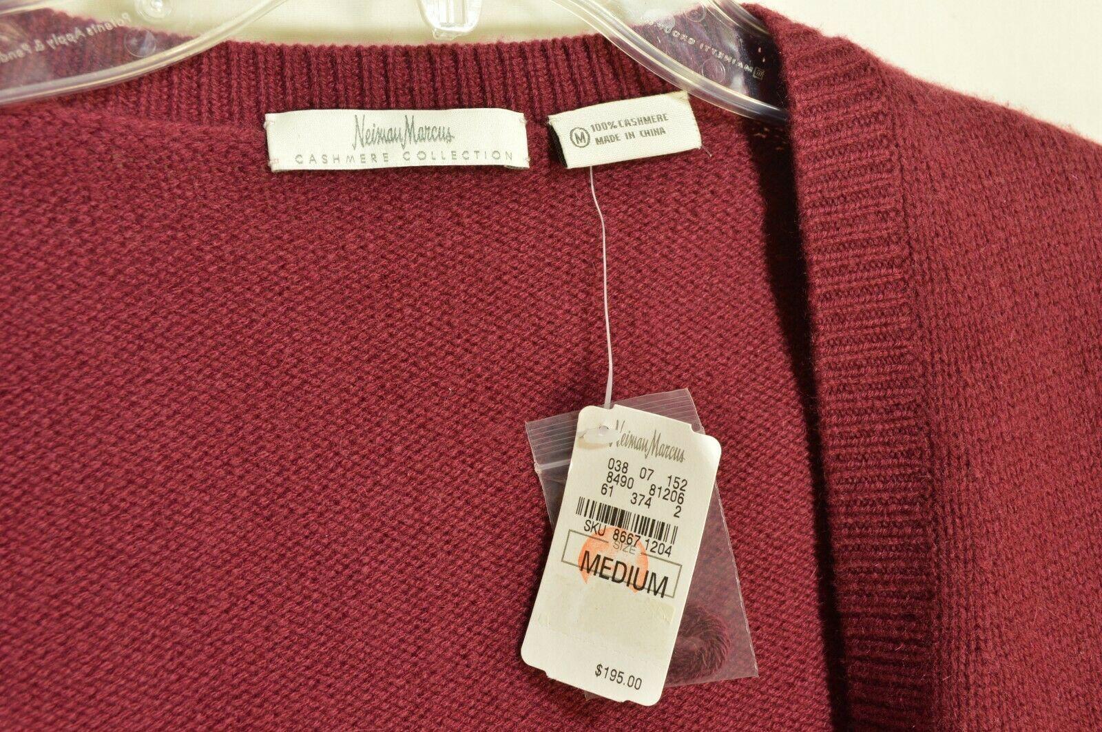 Neiman Marcus sweater M NWT red 100% cashmere shrug bolero cropped $195 new image 9