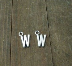 2 Letter W Charms Alphabet Pendants Uppercase Antiqued Silver  - $1.70