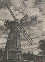 Henry E. Foster (1921-2010) - 1980 Kohlezeichnung, Sussex Windmühle - $42.36