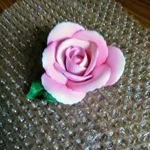 Vintage Tiffany Porcelain Pink Rose on Green Leaves Figurine  image 2
