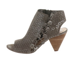 Vince Camuto Leather Peep-Toe Sandals Elison Dark Silver 9.5M NEW A310560 - $103.93