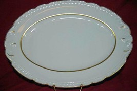 "Embassy Vitrified China Off White Gold Trim & Accents Oval Platter 14"" - $10.39"