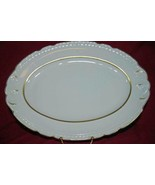"Embassy Vitrified China Off White Gold Trim & Accents Oval Platter 14"" - $9.44"