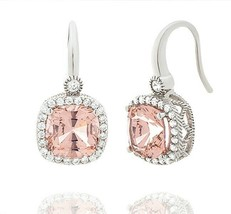 Sterling Silver Signity CZ Pink + Clear Cushion Halo Slip On Hoop Earrings 5 ctw