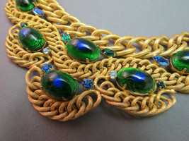 VTG Brania Bib Necklace Mimi Di N Collar Parue Blue Rhinestones Peacock Eye Cabs image 2