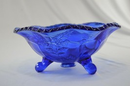 Fenton Stage & Holly Colonial Blue 3 Footed Bowl Crimped # 1746 - $29.70
