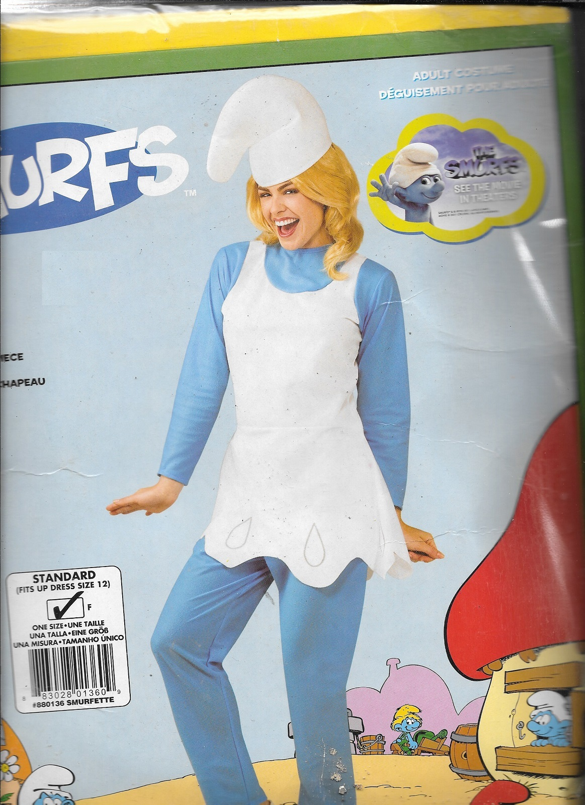 SMURFETTE COSTUME STANDARD SIZE TO DRESS SIZE 12