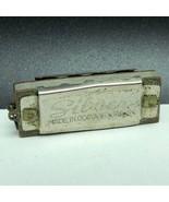 MINIATURE SILVER HARMONICA keychain key chain working instrument occupie... - $49.45