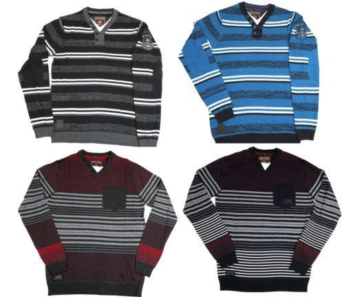 Point Zero Black Label Men's Henley Striped Sweater Long Sleeve Semi-Fit 5713470