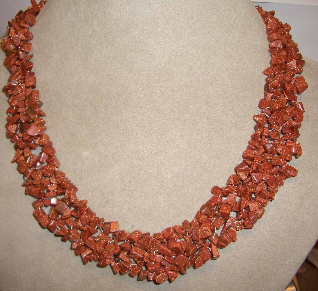 Sunsitara z539 20 inch gold stone necklace