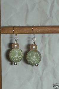Sterling Silver 15mm Carved Jade and Pearls Earrings