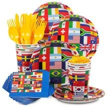 International Flag Tableware (Plates Napkins Cups Table Covers) (SERVES 8)* - $33.85