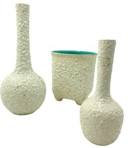 LOT 3  Vintage Royal Haeger Mid-Century MCM White Pebble Finish Vase Trio    - $47.49