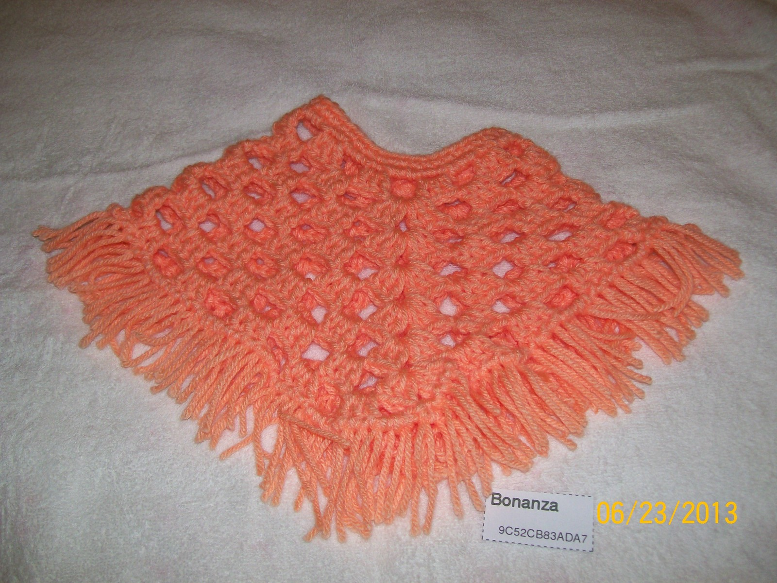 American Girl Peach Poncho and Brimmed Hat, Handmade Crochet, 18 Inch Doll