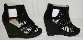BF Betani Shiloh 8 Black Fringe Wedge Heel Sandals Size 6 And Half image 4