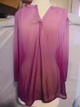 LIZ CLAIBORNE Sz XL Purple Sheer Blouse Top Shirt - $14.85