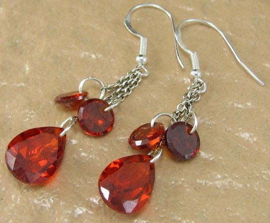 Lin0232fire garnet dangle earrings 925 sterling silver
