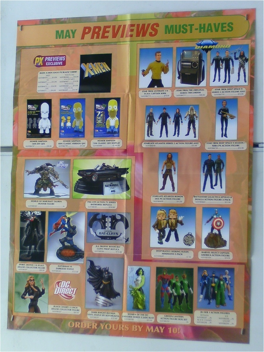 TOY FIGURES POSTER:STAR GATE/STAR TREK/JLA/BATMAN/SUPERMAN/BATTLESTAR GALACTICA