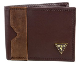 Guess Men's Leather Credit Card Wallet Passcase Billfold Brown 31GU13X049