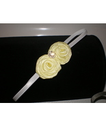 BABY GIRL SKINNY WHITE HEADBAND WITH TWO YELLOW ROLLED ROSETTES - $7.99