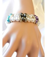 New Multi Colored Beads Stretch Rhinestones  Faux Pearl  Bracelet  - $4.99